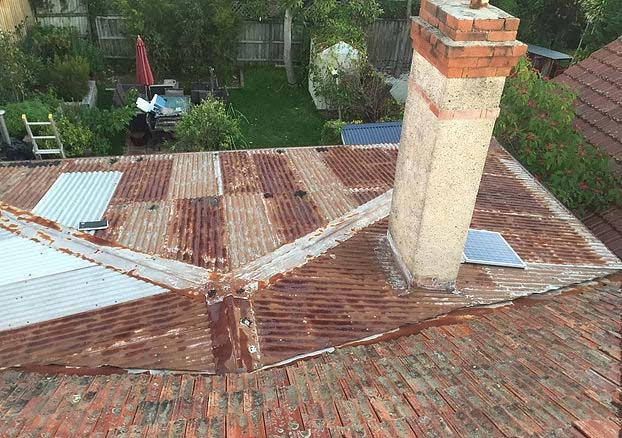 Metal re-roof before