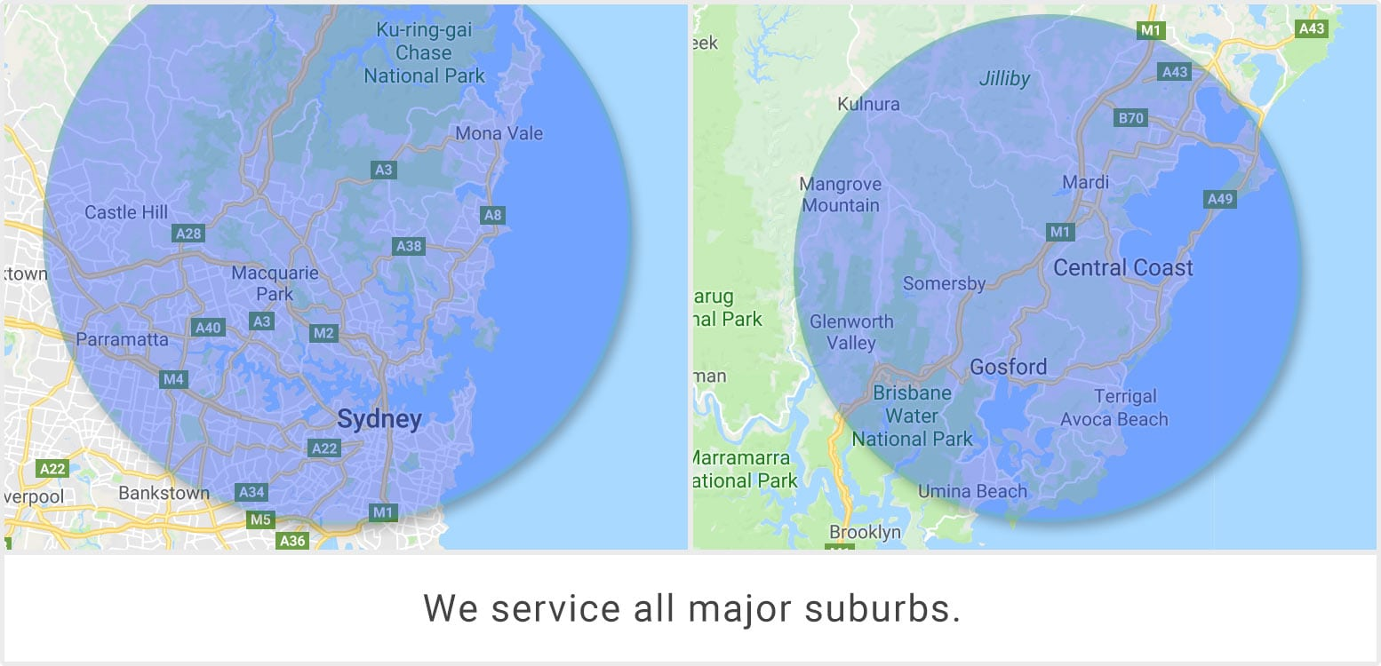 Service Areas in Sydney and Central Coast NSW